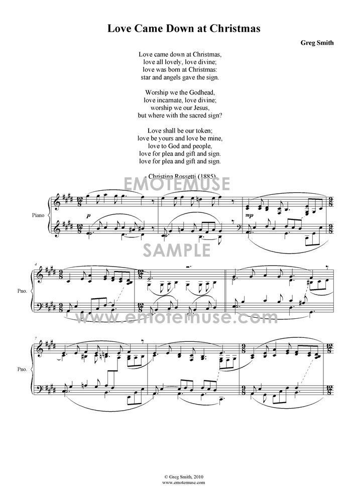 Love            came down at Christmas (Christina Rossetti; Greg Smith) -            Piano solo - sample